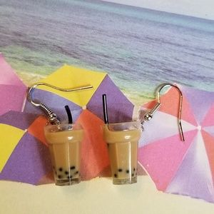 Jewelry - Milk Tea Dangle Pendant Earrings